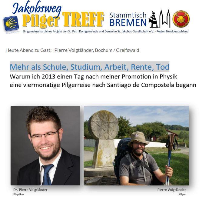 Jakobswegfreunde PilgerTREFF (Stammtisch) Bremen - Treffen mit und für Pilger @ LightHouse an der Schlachte Bremen